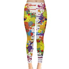 Crazy Multicolored Double Running Splashes Winter Leggings