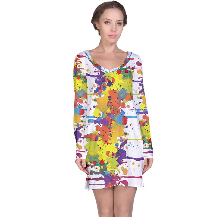 Crazy Multicolored Double Running Splashes Long Sleeve Nightdress