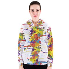 Crazy Multicolored Double Running Splashes Women s Zipper Hoodie