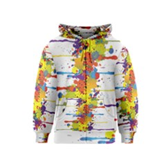 Crazy Multicolored Double Running Splashes Kids  Zipper Hoodie
