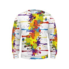 Crazy Multicolored Double Running Splashes Kids  Sweatshirt
