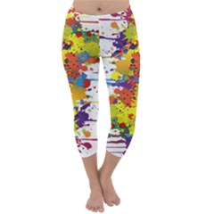 Crazy Multicolored Double Running Splashes Capri Winter Leggings