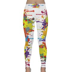 Crazy Multicolored Double Running Splashes Yoga Leggings
