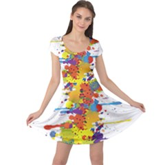 Crazy Multicolored Double Running Splashes Cap Sleeve Dresses
