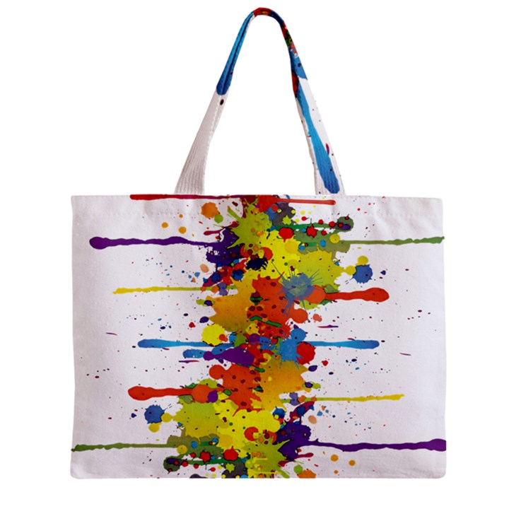 Crazy Multicolored Double Running Splashes Zipper Mini Tote Bag