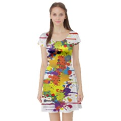 Crazy Multicolored Double Running Splashes Short Sleeve Skater Dress