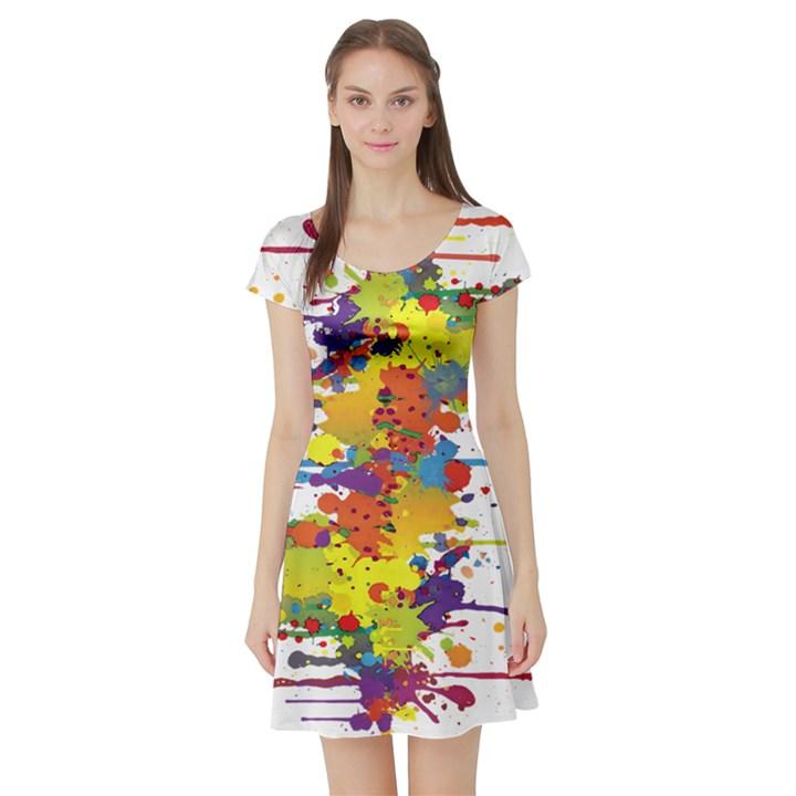 Crazy Multicolored Double Running Splashes Short Sleeve Skater Dress