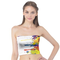 Crazy Multicolored Double Running Splashes Tube Top
