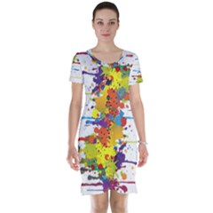Crazy Multicolored Double Running Splashes Short Sleeve Nightdress