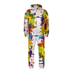 Crazy Multicolored Double Running Splashes Hooded Jumpsuit (Kids)