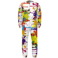 Crazy Multicolored Double Running Splashes Onepiece Jumpsuit (men)