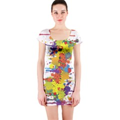 Crazy Multicolored Double Running Splashes Short Sleeve Bodycon Dress