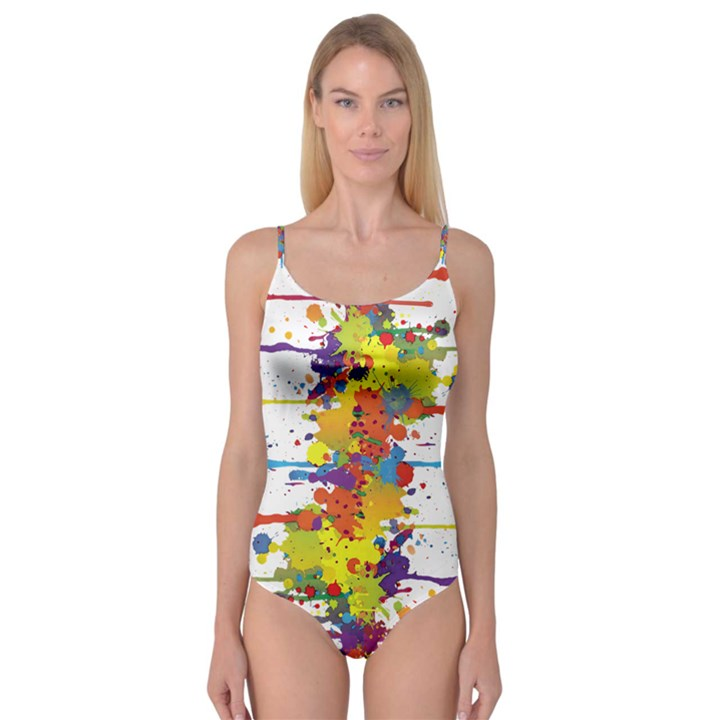 Crazy Multicolored Double Running Splashes Camisole Leotard