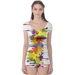 Crazy Multicolored Double Running Splashes Boyleg Leotard