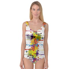 Crazy Multicolored Double Running Splashes Princess Tank Leotard