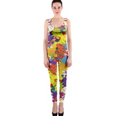 Crazy Multicolored Double Running Splashes Onepiece Catsuit