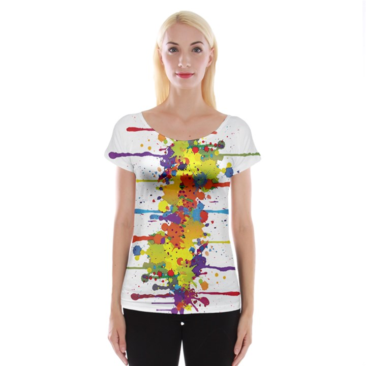 Crazy Multicolored Double Running Splashes Women s Cap Sleeve Top
