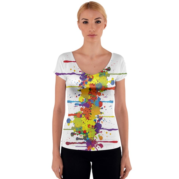 Crazy Multicolored Double Running Splashes Women s V-Neck Cap Sleeve Top