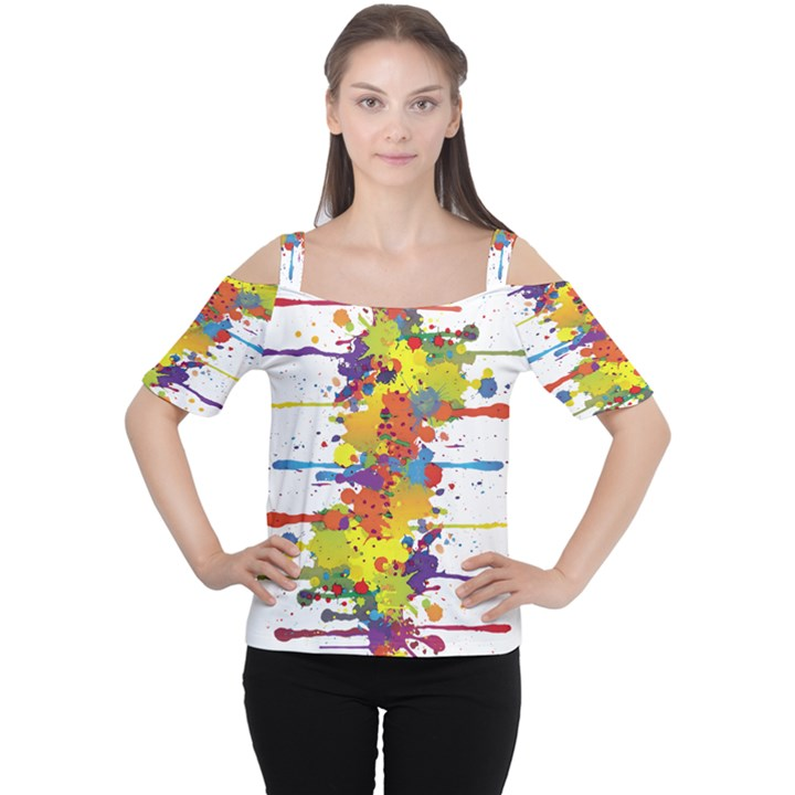 Crazy Multicolored Double Running Splashes Women s Cutout Shoulder Tee