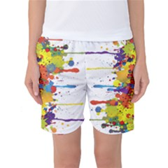 Crazy Multicolored Double Running Splashes Women s Basketball Shorts
