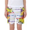 Crazy Multicolored Double Running Splashes Women s Basketball Shorts View1