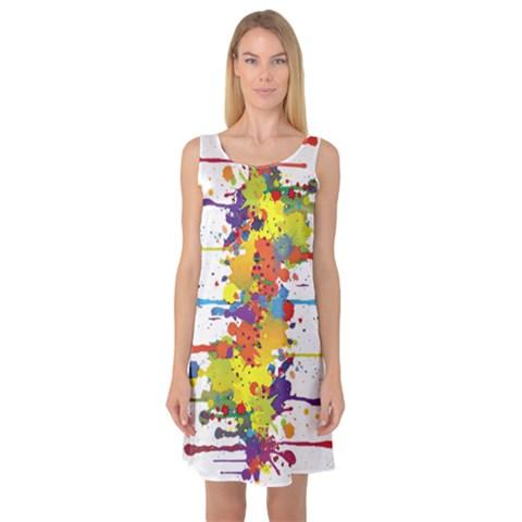 Crazy Multicolored Double Running Splashes Sleeveless Satin Nightdress