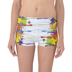 Crazy Multicolored Double Running Splashes Boyleg Bikini Bottoms