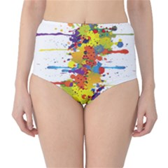 Crazy Multicolored Double Running Splashes High-Waist Bikini Bottoms