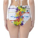 Crazy Multicolored Double Running Splashes High-Waist Bikini Bottoms View2