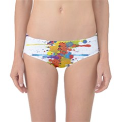 Crazy Multicolored Double Running Splashes Classic Bikini Bottoms