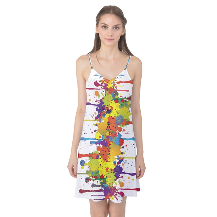 Crazy Multicolored Double Running Splashes Camis Nightgown