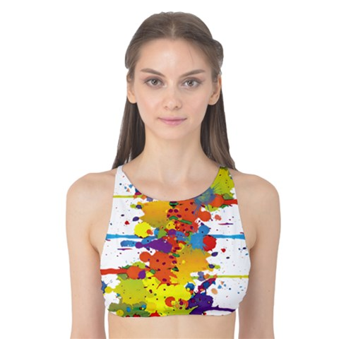 Crazy Multicolored Double Running Splashes Tank Bikini Top