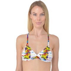 Crazy Multicolored Double Running Splashes Reversible Tri Bikini Top