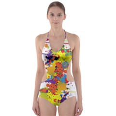 Crazy Multicolored Double Running Splashes Cut-Out One Piece Swimsuit