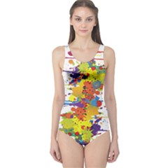 Crazy Multicolored Double Running Splashes One Piece Swimsuit