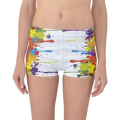 Crazy Multicolored Double Running Splashes Reversible Boyleg Bikini Bottoms