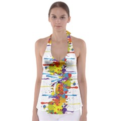 Crazy Multicolored Double Running Splashes Babydoll Tankini Top
