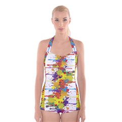 Crazy Multicolored Double Running Splashes Boyleg Halter Swimsuit