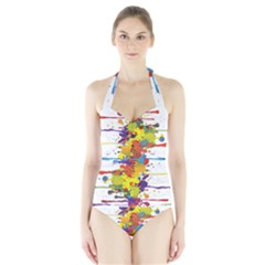 Crazy Multicolored Double Running Splashes Halter Swimsuit