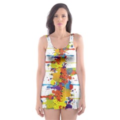Crazy Multicolored Double Running Splashes Skater Dress Swimsuit