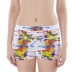 Crazy Multicolored Double Running Splashes Boyleg Bikini Wrap Bottoms