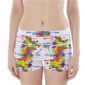Crazy Multicolored Double Running Splashes Boyleg Bikini Wrap Bottoms View1