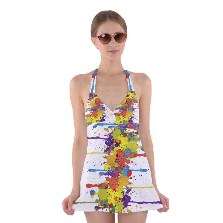 Crazy Multicolored Double Running Splashes Halter Swimsuit Dress
