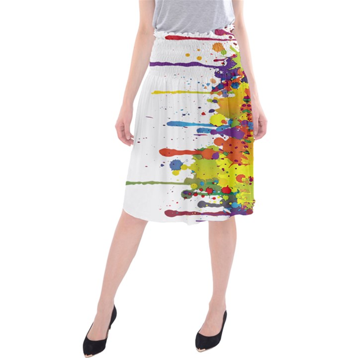 Crazy Multicolored Double Running Splashes Midi Beach Skirt