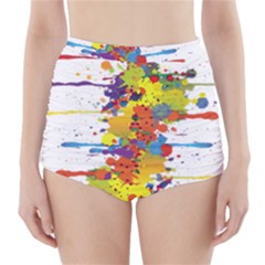 Crazy Multicolored Double Running Splashes High Waisted Bikini Bottoms