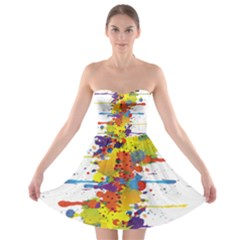 Crazy Multicolored Double Running Splashes Strapless Bra Top Dress