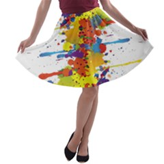 Crazy Multicolored Double Running Splashes A Line Skater Skirt