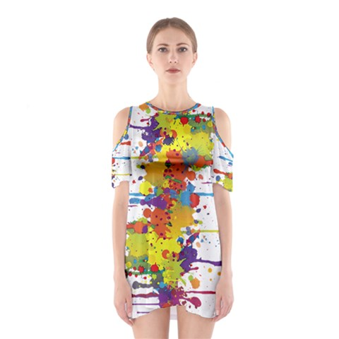 Crazy Multicolored Double Running Splashes Cutout Shoulder Dress