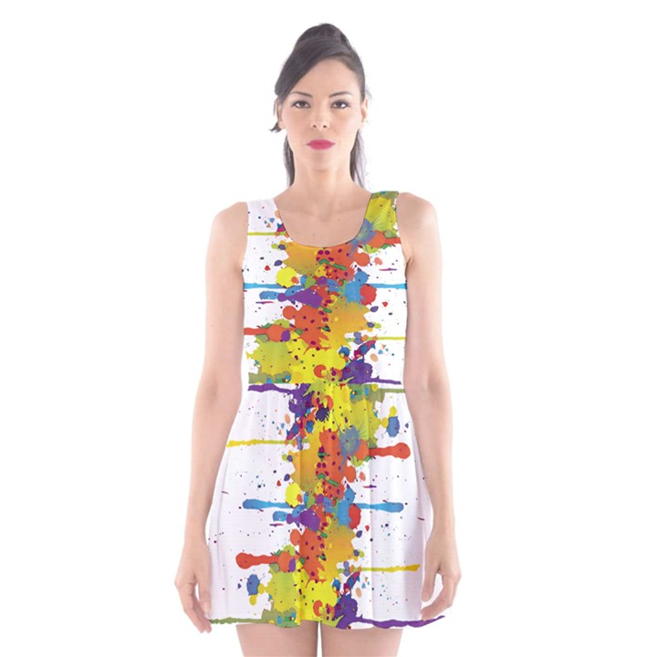 Crazy Multicolored Double Running Splashes Scoop Neck Skater Dress
