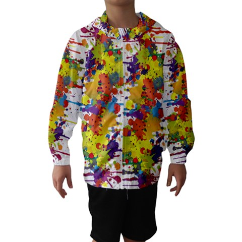 Crazy Multicolored Double Running Splashes Hooded Wind Breaker (Kids)